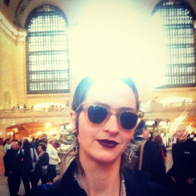 MAY 29th: Eliza is sucking up darkness in Grand Central.  -Eliza Starbuck #loveblaster #grandcentral #darknessismyfriend #rainbowwarrior